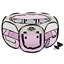 PETMAKER 80-PET5061 Portable Pop up Pet Play Pen with Carrying Bag 33in Diameter X 15.5in Pink, Medium