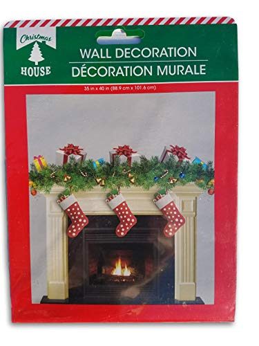 Christmas Holiday Winter Wall Decoration - Stockings on The Hearth - 35 x 40 Inches (Christmas Decorations Hearth)