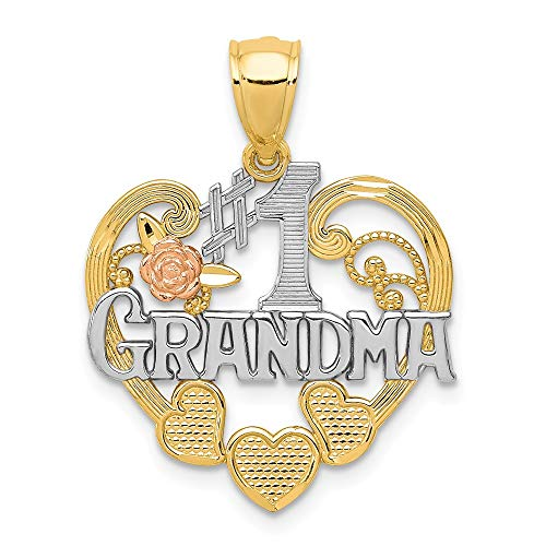 14K Two Tone Gold and Rhodium #1 Grandma Heart ()