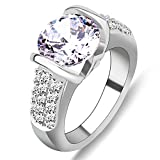 Rongxing Jewelry Ring Crystal Silver Women's White Gold Filled Size 6/7/8/9/10 Wedding Gift