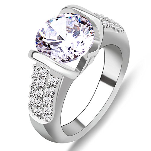 Rongxing Jewelry Big Shiny White Zircon Wedding Ring for Women's Anniversary Gift