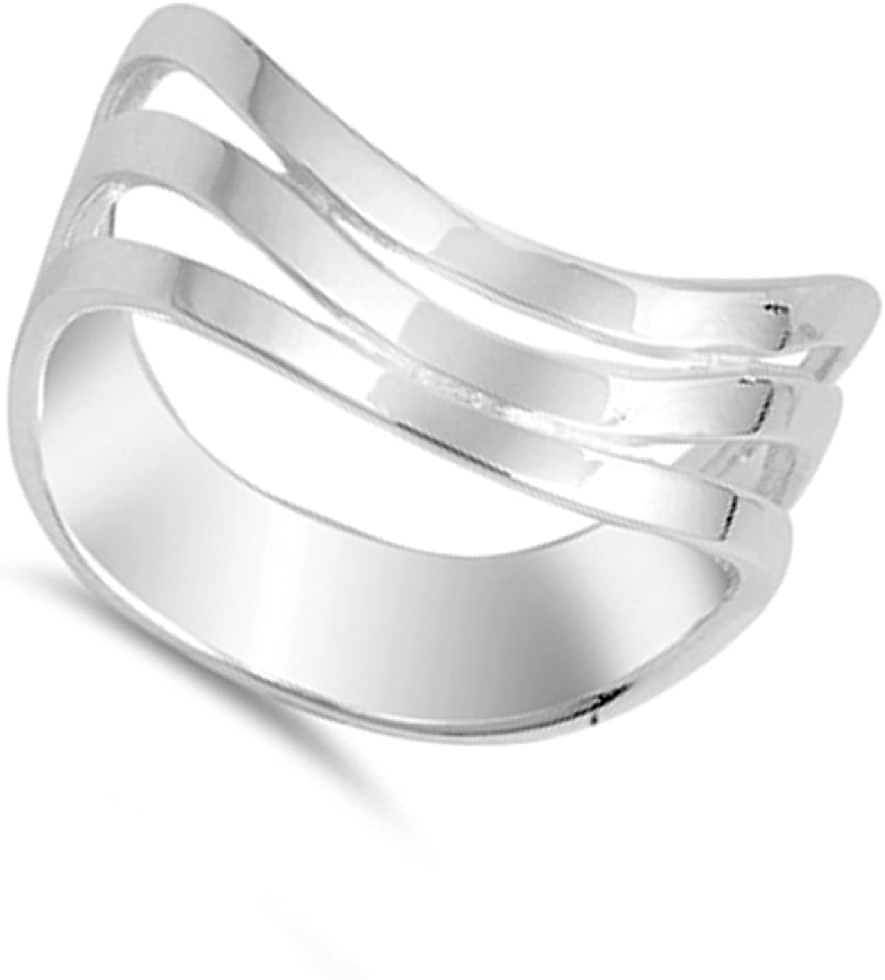 Curved Wave Stacked Thumb Ring New .925 Sterling Silver Band Sizes 5-10