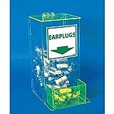"NMC AEP-4 Small Earplug Dispenser, ""EARPLUGS"", 13"" Height x 6"" Length x 8"" Width, Acrylic, Green & Transparent"