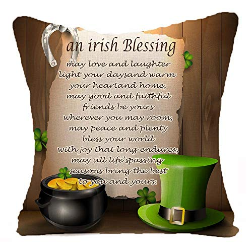 Happy St. Patrick's Day Irish Blessing Irish National Day Green Hat Gold Clover Wood Grain Best Gift Square Throw Pillowcase Pillow Cover Cotton Linen Cushion Cover Family decoration Case 18 Inch