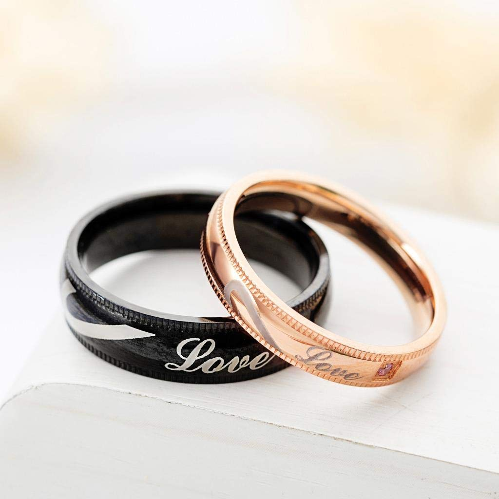 486aed5200 SunFlower666 2pcs Matching Set Couples Wedding Engagement Bands Top Ring (His  Queen and Her King) Stainless Steel ...