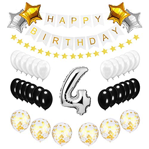 Best Happy to 4th Birthday Balloons Set - High Quality Birthday Theme Decorations for 4 Years Old Party Supplies Silver Black -