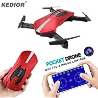 Drone with Camera Live Video,1pc Flexible Foldable Aerofoils RTF Quadcopter,Gravity Sensor WiFi App Control,6 Axis Gyro Headless System,with Altitude Hold,3D Flips and Rolls Function, Red