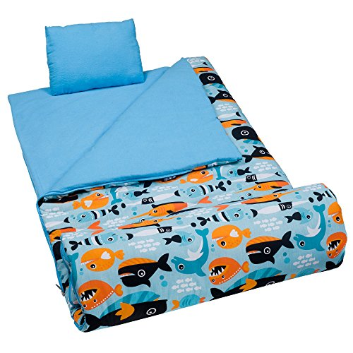 Wildkin Sleeping Bag Original Children's Sleep Sack with Matching Travel Pillow and Storage Bag, Cotton/Microfiber Exterior, 100% Cotton Flannel Interior, Children Ages 5-12 Years – Big Fish