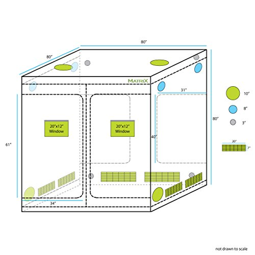 """51IOV1tYtSL - Matrix Horticulture 80""""x80""""x80"""" Grow Tent Diamond Mylar 600D Hydroponic Growing Room Box for Indoor Plants Observation Window Arch Door D Design"""