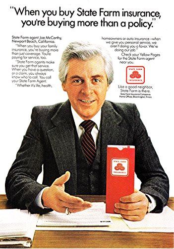 1981 State Farm Insurance  Joe Mccarthy  State Farm Insurance Print Ad