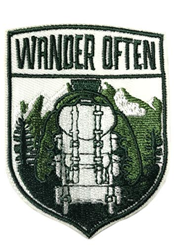 Wander Often Hiker Embroidered Patch Iron-on or Sew-on National Park Outdoor Series Embroidered Patch Iron-on or Sew-on Emblem Badge DIY Appliques Application Patches