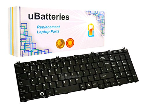 UBatteries Compatible Laptop Keyboard For Toshiba Satellite C650 C655 C655D C660 C670 C675 C675D L650 L650D L655 L655D L670 L670D L675 L675D L750 L750D L755 LKB-TO06BS - (Black, Large Enter Key)