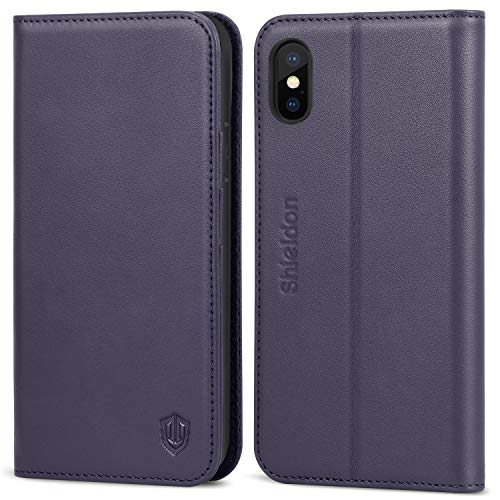 - iPhone Xs Case, SHIELDON Genuine Leather Premium iPhone Xs Wallet Case [Auto Sleep/Wake] [Folio Cover] [Stand Feature] with Credit Card Slots Protection Case Compatible with iPhone Xs (2018) - Purple