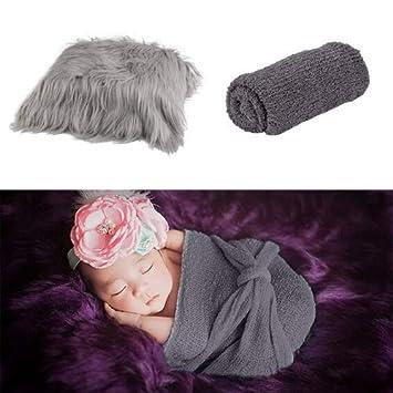 Grey /& Dark Grey Aniwon 2Pcs Baby Photo Props Long Ripple Wraps DIY Blanket Newborn Wraps Photography Mat for Baby Boys and Girls