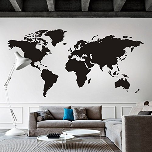 World Map Wall decal Removable Map Decal Vinyl Map wall Decor World Map Wall Sticker Living room Art Decor Black by…
