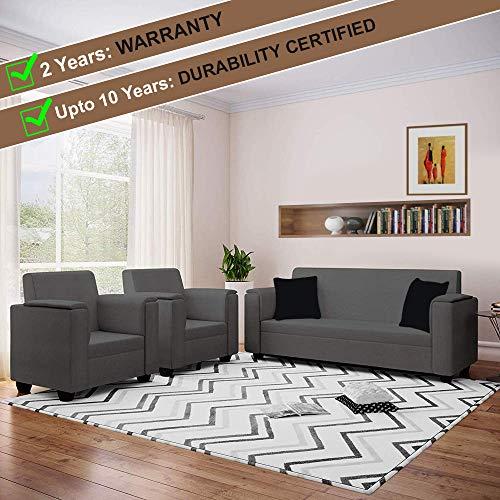 Furny Galaxite Fabric 5 Seater 3+1+1 Sofa Set  Dark Grey