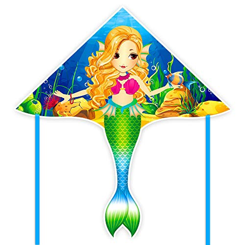 Mint's Colorful Life Mermaid Kite for Girls & Kids, Easiest to Fly Delta Kite