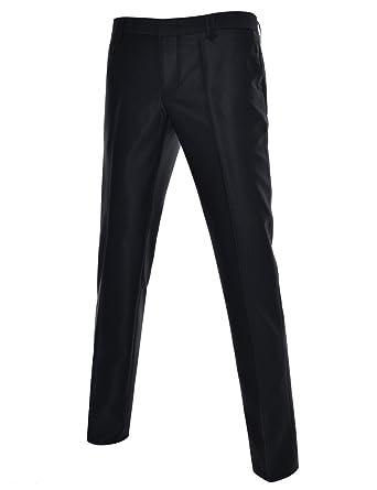 DETYLISH SHP469 Mens Glossy Suit Trousers Slim Fit Dress Pants Business  Slacks Black 29W 32L a03a7cfdcc38