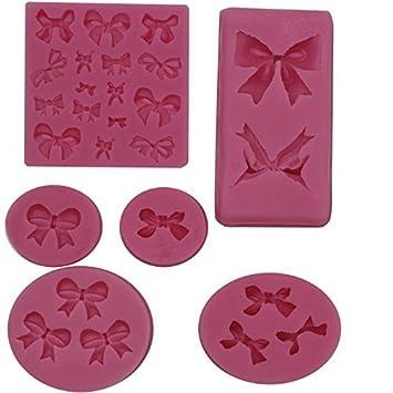musykrafties SURTIDO LAZOS Molde de silicona para azúcar Cola, Fondant, Resina, Polímero Flexible, Pasta de goma, cera, 6 piezas Juego: Amazon.es: Hogar