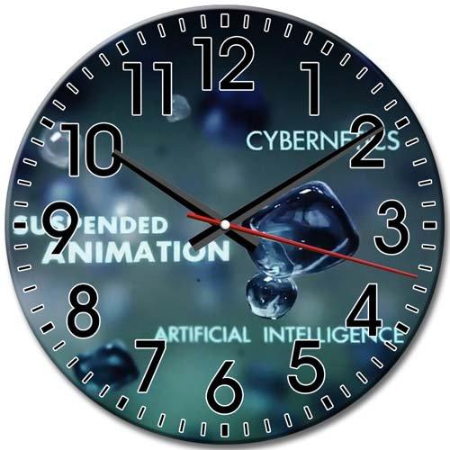 Round Wall Clock Silent Fringe Pattern Frameless Technology Arabic Numbers 10 Inch / 25 cm Diameter