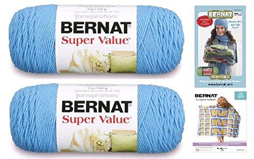 Bernat Super Value Med (4) Weight Yarn, 7 Oz (2-Pack) With 2 Bernat Patterns (hot blue) Bernat Yarns Patterns