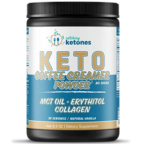 Catching Ketones Keto Coffee Creamer with MCT Oil, French Vanilla Creamer with Powdered Erythritol Sweetener-Monkfruit Sweeteners-Himalayan Salt & Hydrolyzed Collagen-Sugar Free Coffee Creamer Powder