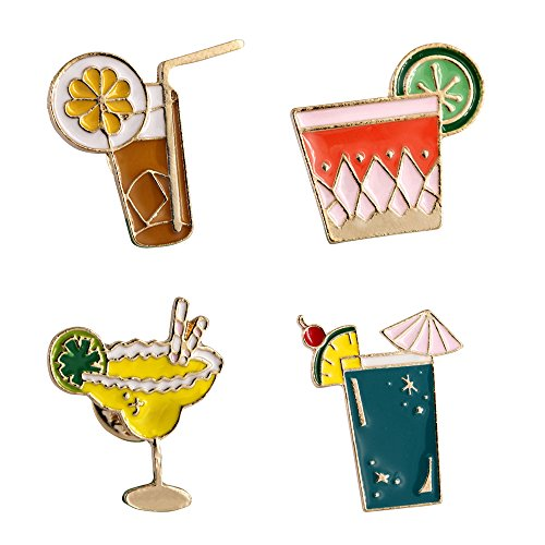 - MP03 Cute Cocktail Drinks Cartoon Button Brooches Pins with Velvet Bag 4pcs/set