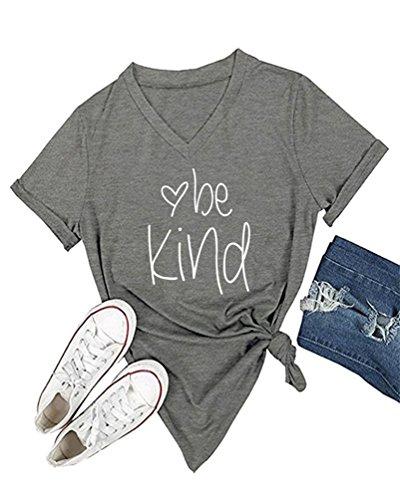 DANVOUY Womens T Shirt Casual Cotton Short Sleeve V-Neck Graphic T-Shirt Tops Tees Grey - Grey T-shirt Cute Ash