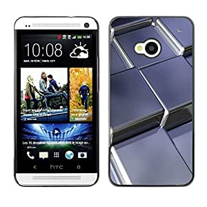 LECELL -- Funda protectora / Cubierta / Piel For HTC One M7 -- Abstract Metal Cubes --