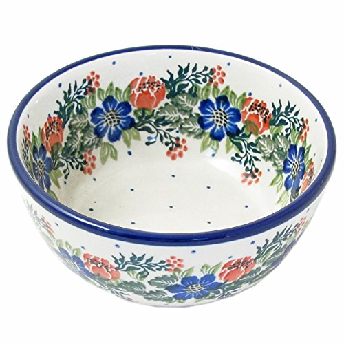 Blue Garland Dessert Bowls (Polish Pottery 4.5
