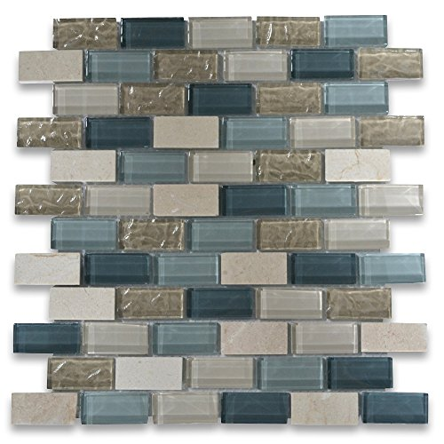 Gray Blue Beige Light Brown Glass Mix Crema Marfil Marble 1x2 Brick Mosaic Tile (Brick Glass Mosaic Tile)