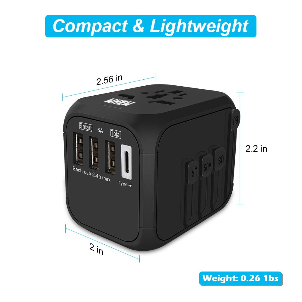 Universal International Travel Adapter with Auto-Reset Fuse, Whew All-in-One Worldwide Power Adapter Travel Plug Adapter, 5A USB Output, 1 Type C, 3 USB for US, UK, EU, AU, 170+ Countries (Black) by Whew (Image #6)