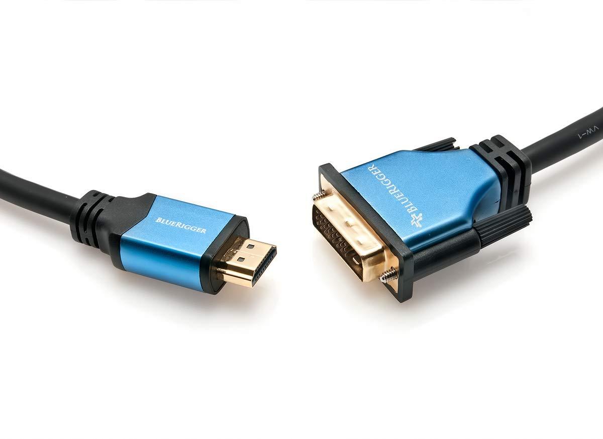 TALLA 7.6 m. BlueRigger HDMI-DVI-25FT - Cable de alta velocidad HDMI macho a DVI macho conector, bi-direccional con contactos enchapados en oro, negro y azul, 7.6 m