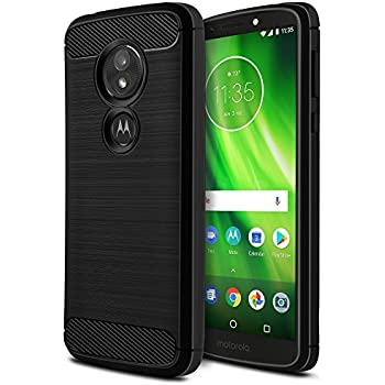 buy popular 01bdf 043dd Moto G6 Play Case [Not Moto G6], OEAGO [Shock Resistant] Flexible Soft TPU  Brushed Anti-Fingerprint Protective Cover and Carbon Fiber Design for ...