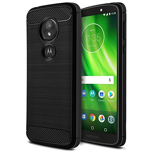 Moto G6 Play Case [Not Moto G6], OEAGO [Shock Resistant] Flexible Soft TPU Brushed Anti-Fingerprint Protective Cover and Carbon Fiber Design for Motorola Moto G6 Play (G Play 6th Generation) - Black (Mobile Moto Phones Boost G Case)