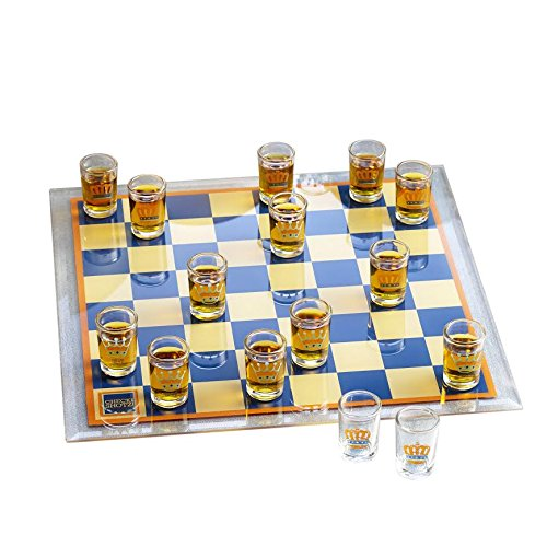 Game Night Checkers Shot Glass Drinking Game Set, Clear