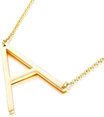 Amazon.com: Diane Loren collar de oro de 18kt con letra ...
