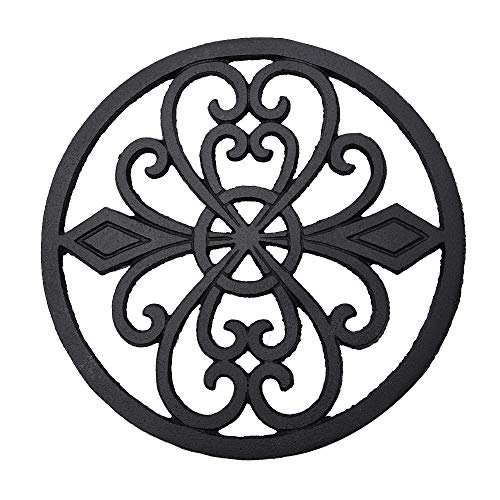 Sungmor Heavy Duty Cast Iron Round Metal Trivet,Rustproof Black Racks Stands Holders for Hot Pans or Teapot,Kitchen or Dinning Table Decorations ()