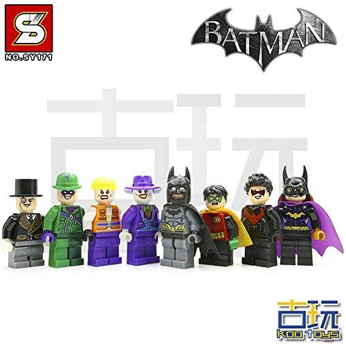 8pcs/Lot Batman Batgirl Joker Robin Hood DIY Minifigures Figures Model Building Blocks Bricks Learning Educational Toys Gift for Children Kids