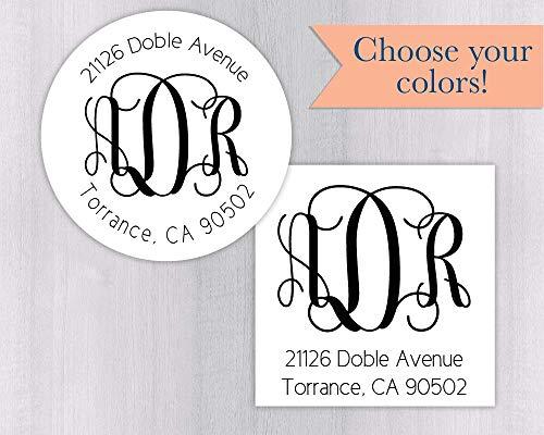 Monogram Wedding Invitation Return Address Label, Wedding Invitation Return Address Sticker, Round Monogram Address Label (#212-WH) -