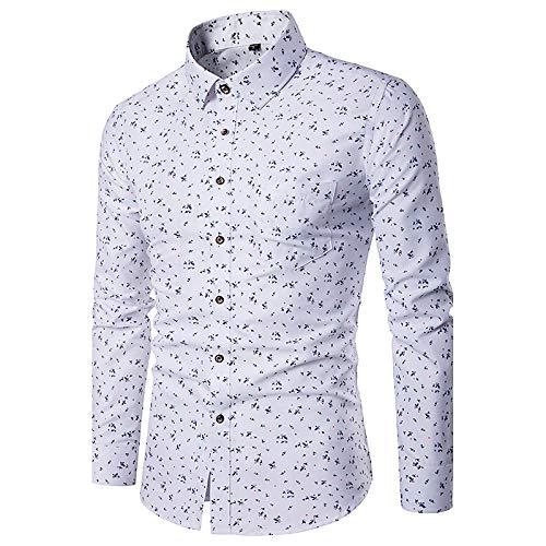 White XL Men's Slim Shirt  Geometric Print Classic Collar