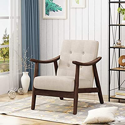 Christopher Knight Home Aurora Mid-Century Modern Accent Chair, Beige, Brown - Experience the vibrant brilliance of mid-century modern Convention by taking a seat in this sleek and trendy accent chair; featuring chic button tufting and the iconic look of bent-wood arms so characteristic of this style, this selection will update the look of your living space and give it that oh-so-desirable Spirit of retro flair. The timeless look of this era is coming back in a big way - be the first of your friends to include a Classic piece like this in your home Includes: one (1) accent chair. Material: fabric. Fabric composition: 100% polyester Leg Material: rubberwood. Fabric color: Beige. Leg Finish: medium brown - living-room-furniture, living-room, accent-chairs - 51IOXIFAqkL. SS400  -