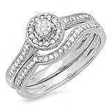 0.40 quilates (ctw) 14k oro blanco diamante redondo damas Halo estilo nupcial anillo de compromiso conjunto (tamaño 7)