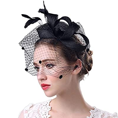 Inverlee Women Fascinator Hair Penny Mesh Hat Ribbons And Feathers Derby Hat Cocktail Party Wedding Headdress