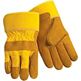Steiner 02469-L Leather Palm Work Gloves, Brown Premium Shoulder Split Cowhide, 2-Inch Gold Cuff, Large (12-Pack)
