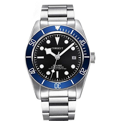 Sapphire Crystal 41MM Corgeut Black Dial Ceramic Bezel 21 Jewels Miyota Automatic Movement Men's Watch ()