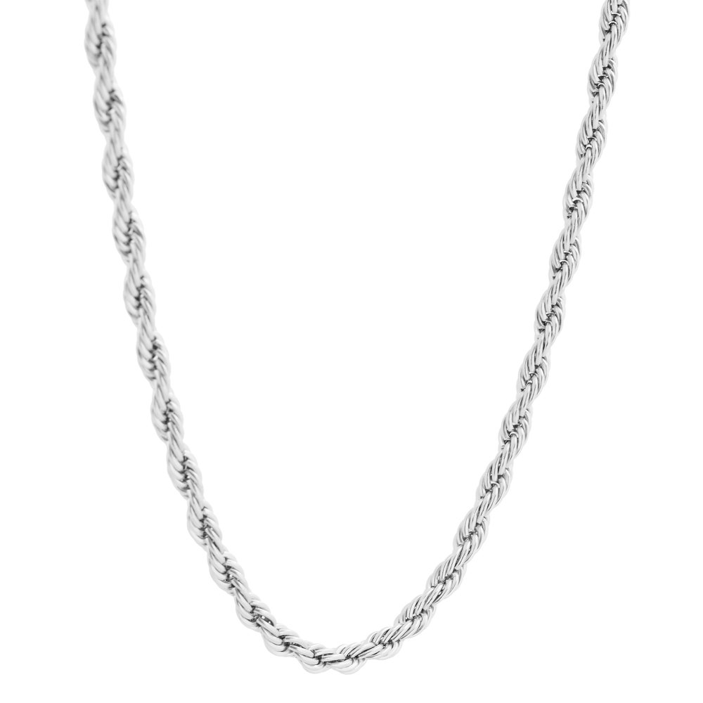 EDFORCE Surgical Stainless Steel 4mm Twist Rope Chain Necklace, 22'' Inches by EDFORCE