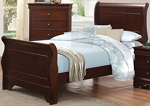 Abbeville Brown Cherry Wood Twin Sleigh Bed by Homelegance