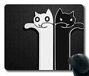 """Black White Cats Longcat Tacgnol Personalized Design Custom Rectangle Mouse Pad Oblong Gaming Mousepad in 220mm*180mm*3mm (9""""*7"""") -100742"""