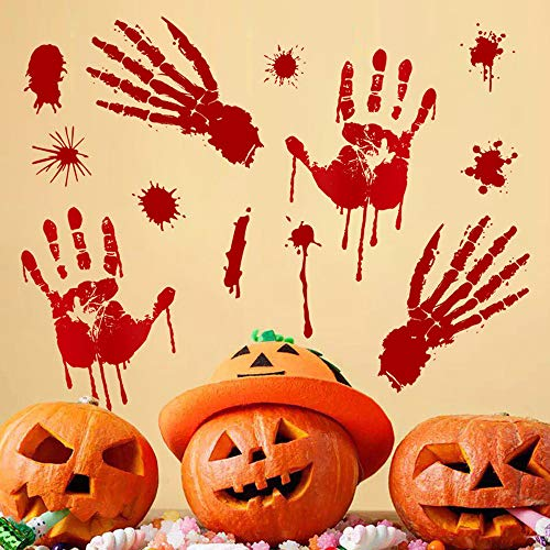 Tuscom Bloody Footprints Handprint Floor Clings |Halloween Stickers Vampire Zombie Party Decor Decals Stickers (2 Style 30x45cm) (A) -